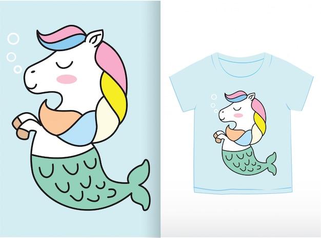 Tシャツに描かれたかわいい小さなアナグマ手 Premiumベクター
