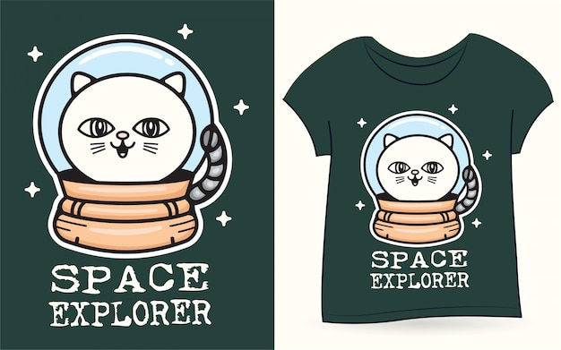 Tシャツの宇宙猫 Premiumベクター
