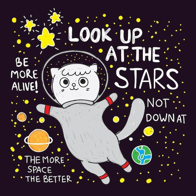 かわいい猫宇宙飛行士手描きのtシャツ Premiumベクター
