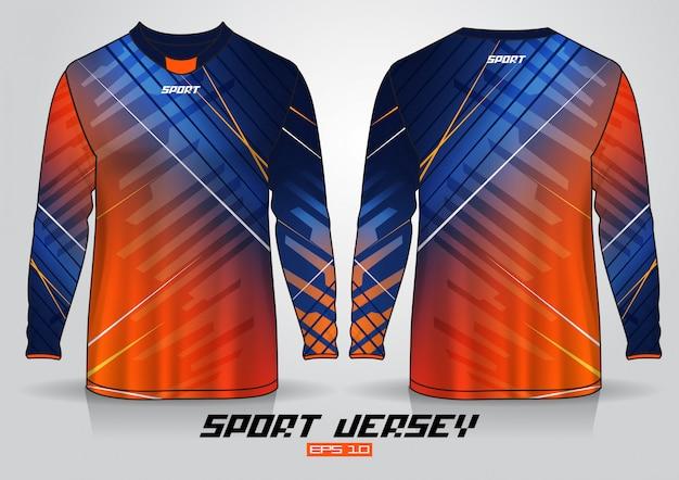 長袖tシャツのデザインテンプレート、前面と背面のユニフォーム。ベクター Premiumベクター