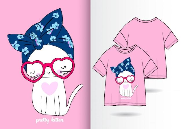 Tシャツと手描きのかわいい猫 Premiumベクター