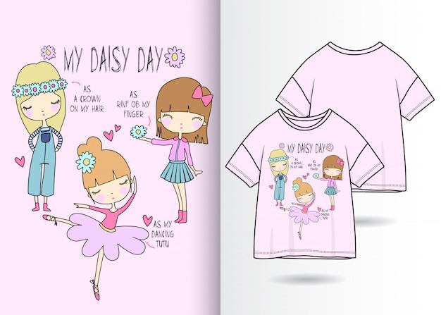 手描きのtシャツとかわいい女の子 Premiumベクター
