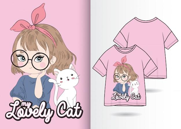 Tシャツデザインのキティイラストで手描きのかわいい女の子 Premiumベクター