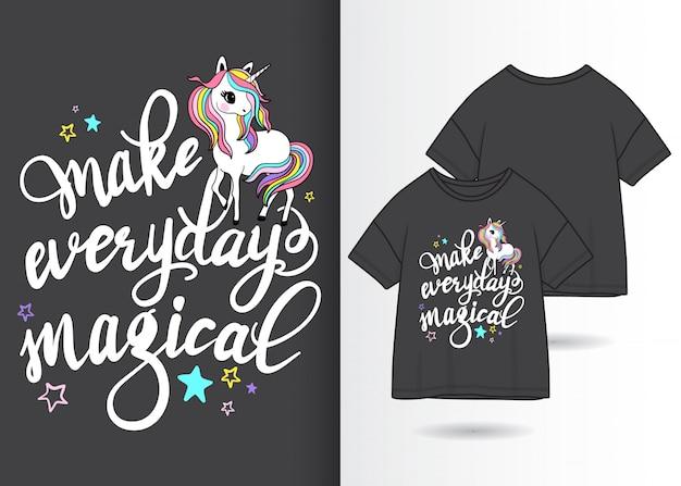手描きtシャツデザインとかわいいユニコーンイラスト Premiumベクター