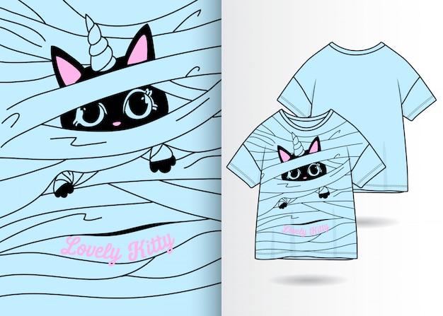 手描きのかわいい子猫のイラスト、tシャツデザイン Premiumベクター