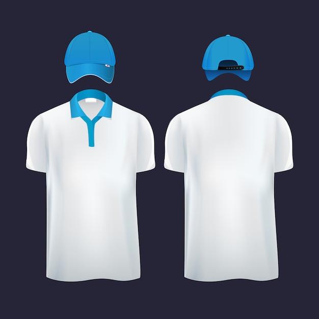 野球帽とカジュアルtシャツの両サイドにポロシャツ。ベクトルイラスト Premiumベクター