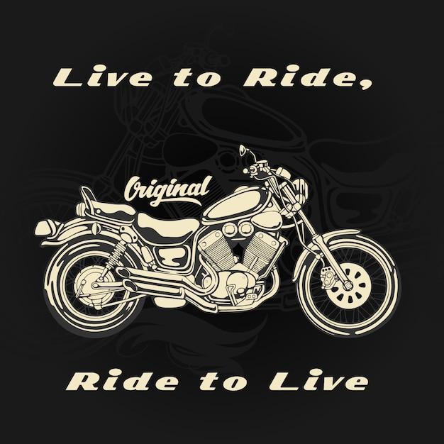 イラストtシャツ用オートバイ Premiumベクター