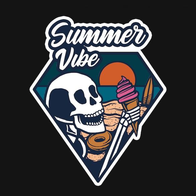 浜辺のアイスクリームtシャツデザイン Premiumベクター