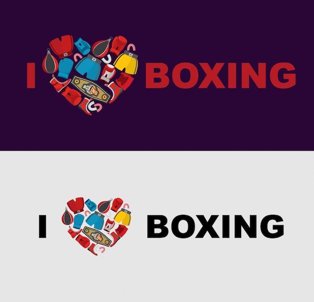 ボクシングが大好きです。ボクシングギアの中心のシンボル:ヘルメット、ショートパンツ、ボクシンググローブ。アスリートのtシャツに適用するためのテンプレート。 Premiumベクター