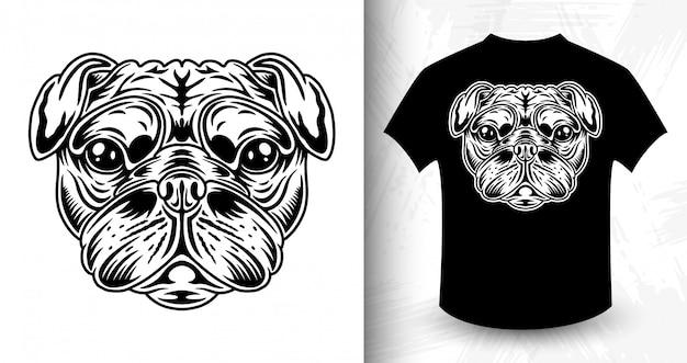犬の顔、モノクロスタイルのtシャツのアイデア Premiumベクター
