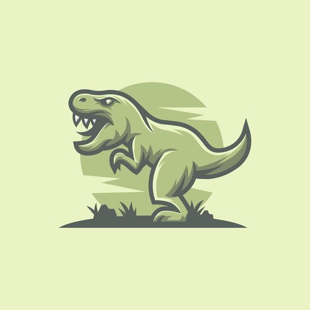 Tレックス恐竜マスコットロゴデザイン Premiumベクター