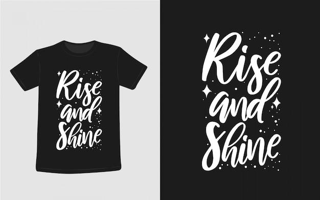 上昇し、心に強く訴える引用タイポグラフィtシャツを輝き Premiumベクター