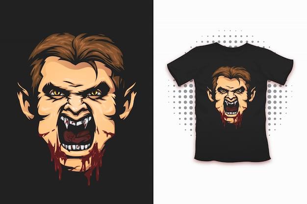 Tシャツデザインの吸血鬼プリント Premiumベクター