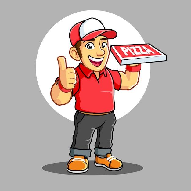 赤いtシャツのピザ配達少年 Premiumベクター