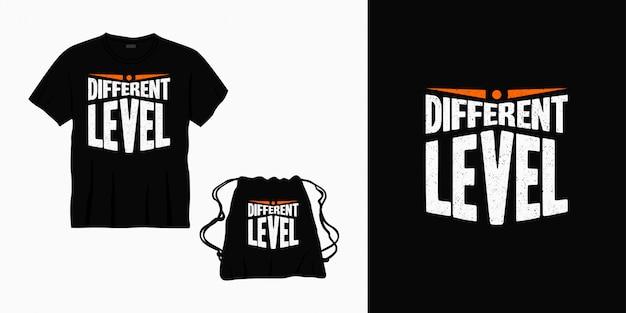 Tシャツ、バッグ、または商品の異なるレベルのタイポグラフィレタリングデザイン Premiumベクター