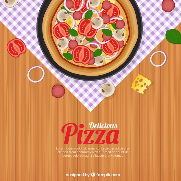 Table background with delicious pizza Vector | Free Download