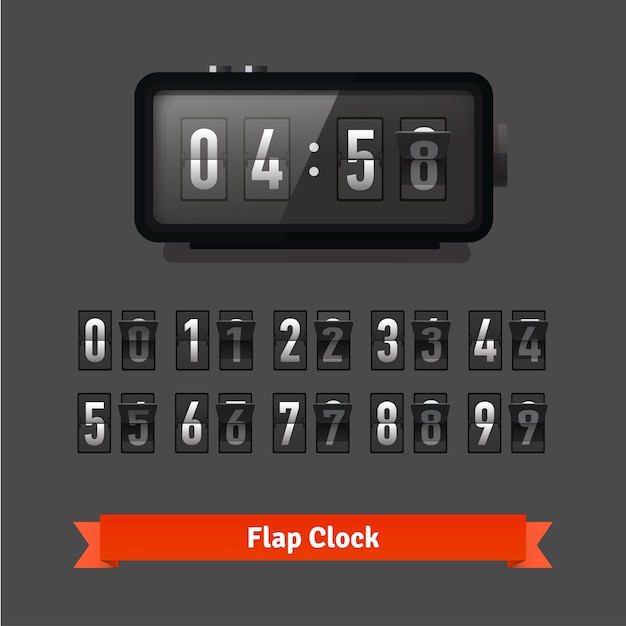 Table flap clock and number counter template Free Vector