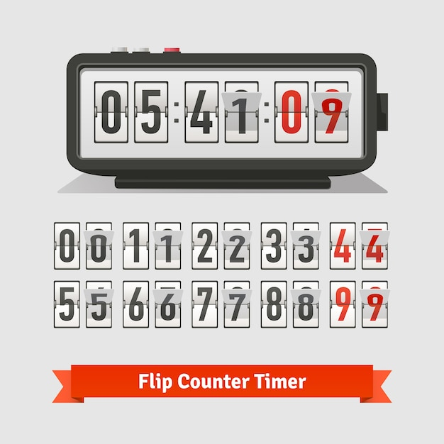 Table flipping timer clock and counter template Free Vector