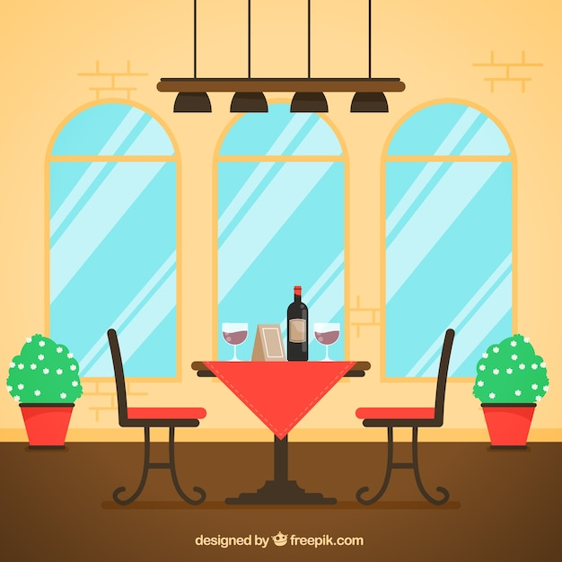 Table for two, flat style restaurant scene