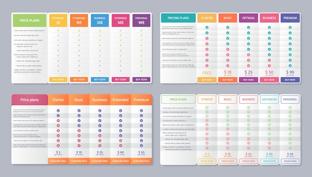 Table price template. . pricing data grid with 5 column. set comparison plan chart. comparative spreadsheets with options. checklist compare tariff banner. color illustration. flat simple design Premium Vector