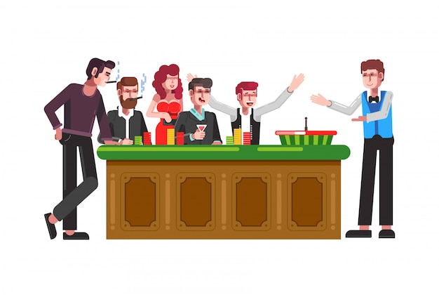 Table for roulette wheel with players and croupier Premium Vector
