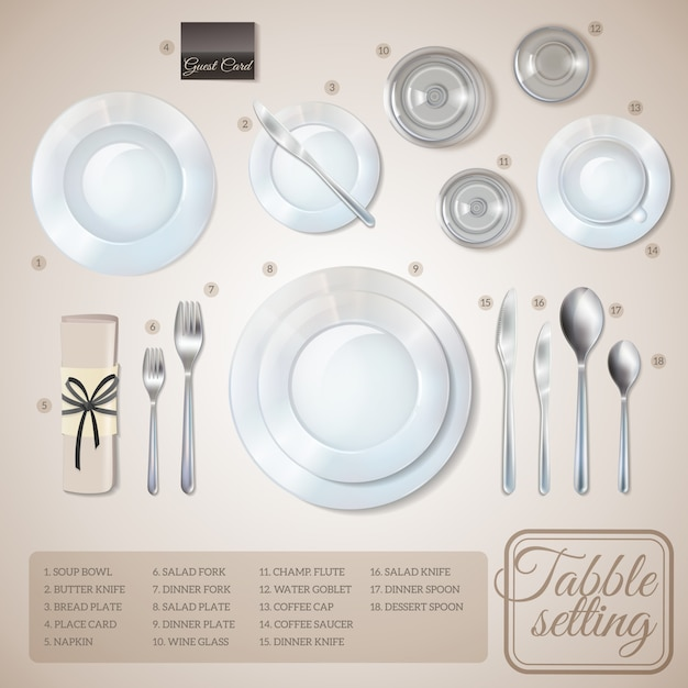 Table setting infographics Free Vector