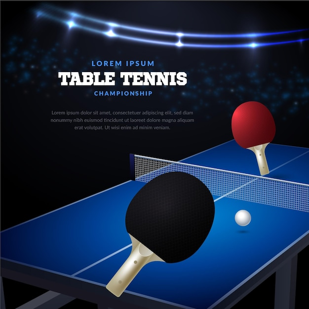 Table tennis background realistic design Free Vector