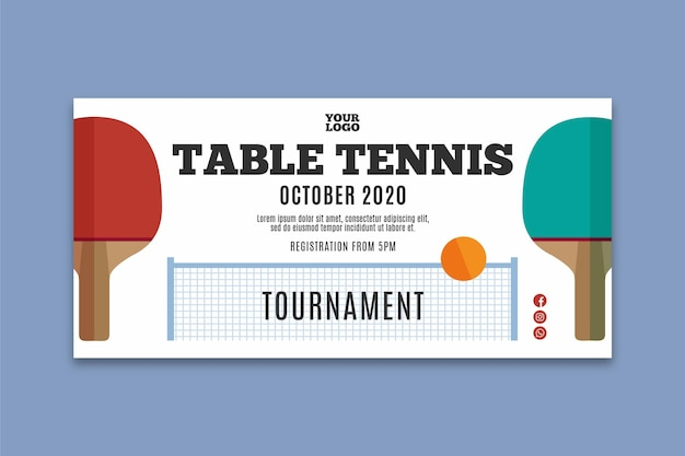 Table tennis banner template Free Vector