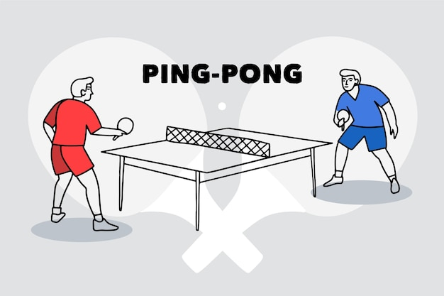 Table tennis concept illustration with players Premium Vector