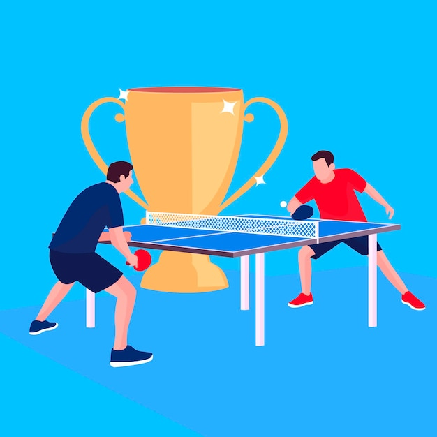 Table tennis concept with trophy Free Vector