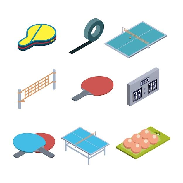 卓球ゲーム機器コレクションセット Premiumベクター