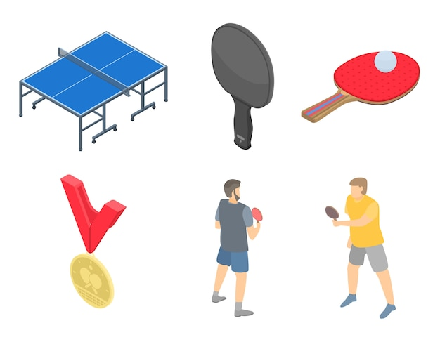Table tennis icons set, isometric style Premium Vector