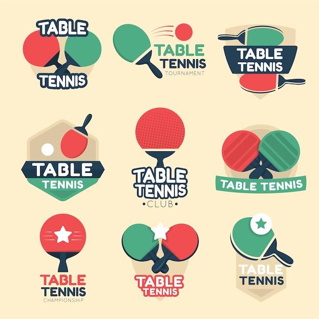 Коллекция логотипов для настольного тенниса Premium векторы
