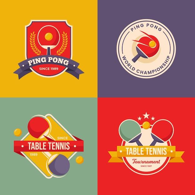 Коллекция логотипов для настольного тенниса Бесплатные векторы
