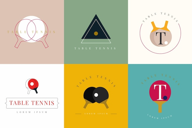 Table tennis logo collection Free Vector