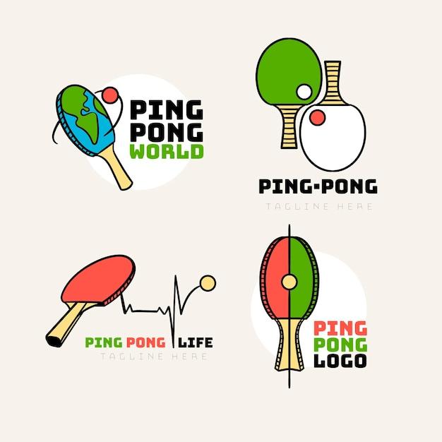 Table tennis logo set Free Vector