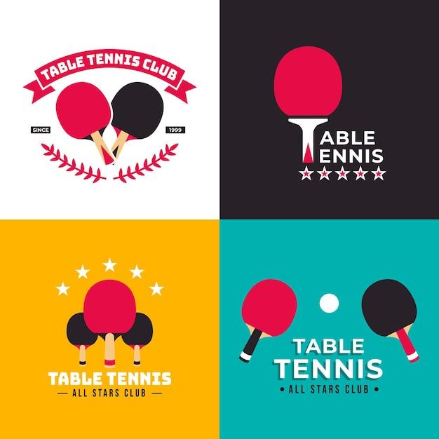 Table tennis logo template collection Free Vector