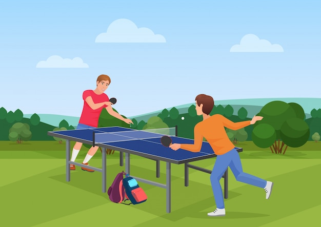 Table tennis pingpong match Premium Vector