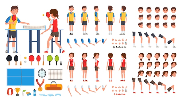 Table tennis player male, female Premium Vector