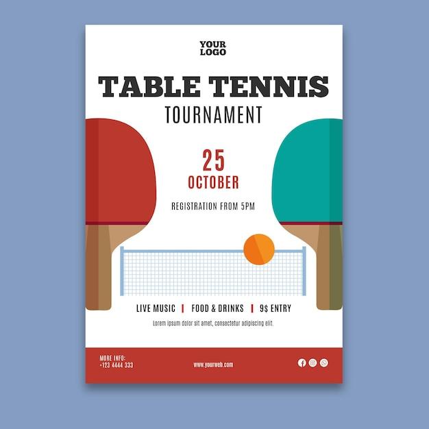 卓球テンプレートポスター 無料ベクター