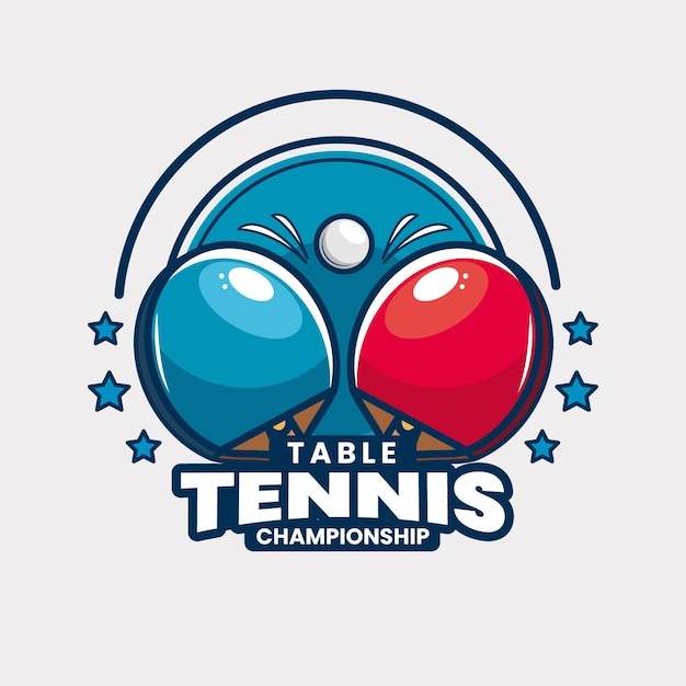 Table tennis tournament logo template Free Vector