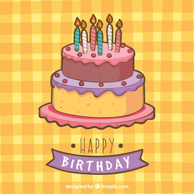 Tablecloth background with birthday cake Free Vector