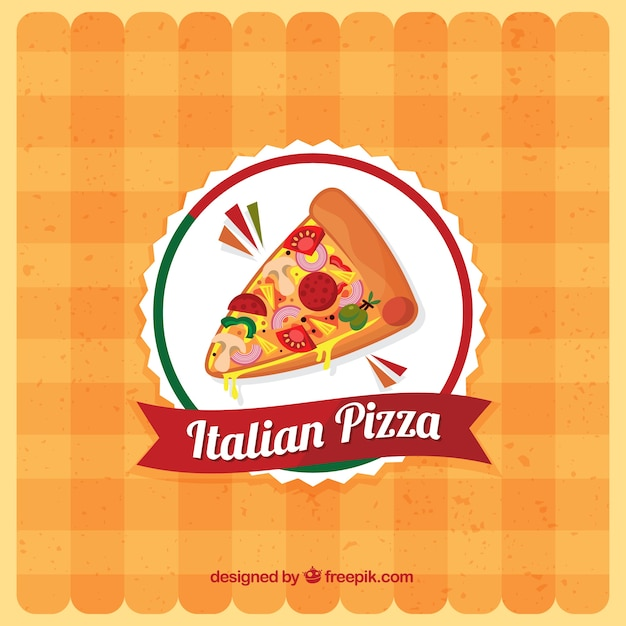 Tablecloth background with pizza logo Free Vector