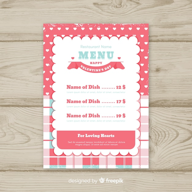 tablecloth valentine menu template vector free download