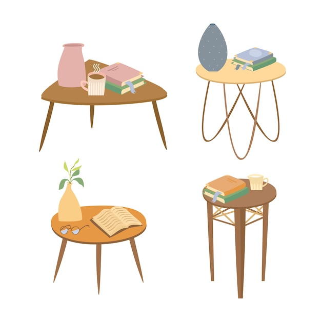 Tables with books set Free Vector