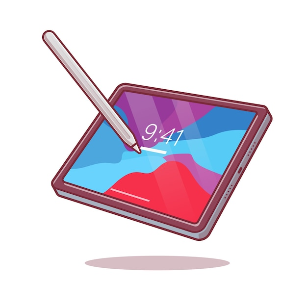 Таблетка и стилус карандаш мультфильм векторные иллюстрации значок. Бесплатные векторы
