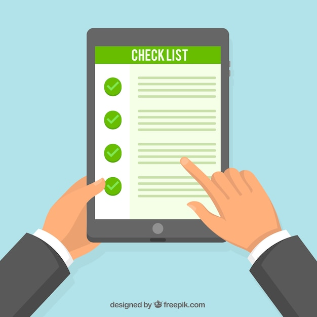 Tablet background with checklist Free Vector