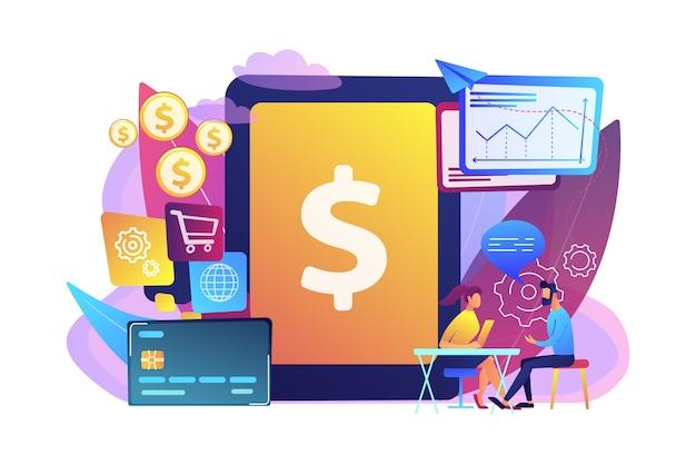 Планшет, банковская карта и менеджер, использующий банковское программное обеспечение для транзакций. базовая банковская ит-система, банковское программное обеспечение, концепция ит-услуг. Бесплатные векторы