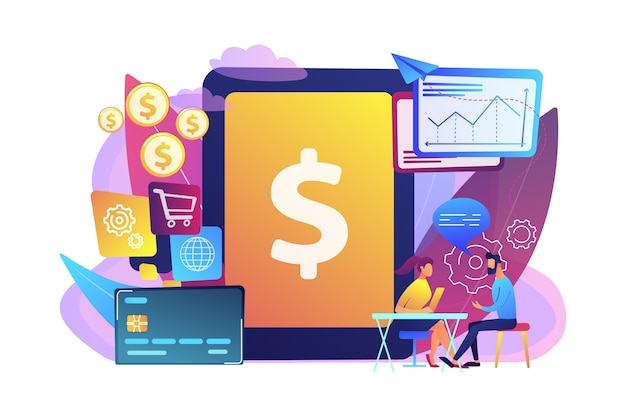 Tablet, bank card and manager using banking software for transactions. core banking it system, banking software, it service concept. Free Vector