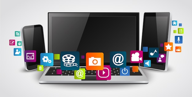 Tablet computer and mobile phones Premium Vector